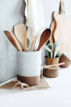 A rustic yet modern container to store your kitchen utensils and gadgets!  Hand thrown on the potters wheel. After forming, each utensil crock is trimmed, glazed and high fired in a gas kiln.  ~5.25 diameter, ~7 tall  Dishwasher safe  Made in USA  User Feedback  My kitchen is modern