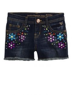 CK won't shop at Justice anymore except for camisoles and shorts -- those fit her really well. These shorts passed muster. Floral Embellished Denim Shorts
