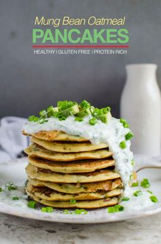 Mung bean oatmeal protein pancakes - packed with dietary fibers, healthy proteins and essential nutrients. Also gluten free and vegan Healthy Breakfast Recipes, Brunch Recipes, Healthy Cooking, Vegan Recipes, Free Recipes, Healthy Meals, Yummy Recipes, Healthy Food, Recipies