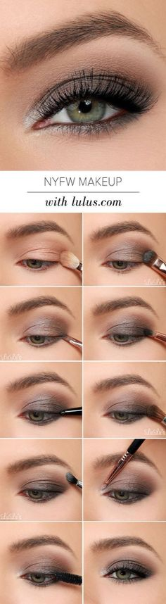 This NYFW-inspired eye makeup tutorial uses gray, black and metallic silver eye shadows for perfect night out ready smoky eye.