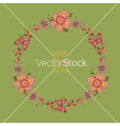 Floral frame vector by Sudjino on VectorStock®