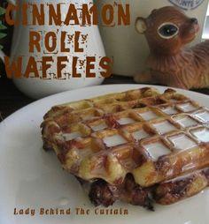 Cinnamon Roll Waffles - literally, SMASH canned cinnamon rolls & cook on a waffle maker.  YUMMO!