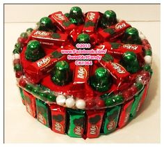 Red and Green Kit Kat Cake with Red and Green Sixlets Green Birthday Cakes, Candy Birthday Cakes, Candy Cakes, Christmas Birthday Party, Christmas Candy, Diy Christmas Gifts, Office Christmas, Christmas Ornaments, Diy Birthday Gifts For Friends