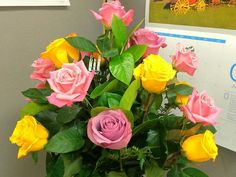 A friend's bouquet of roses