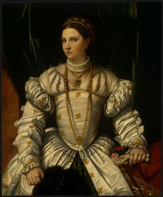 """""""Portrait d une dame en blanc"""" de Alessandro Bonvicino (Moretto Da Brescia) (1498-1554, Italy)"""