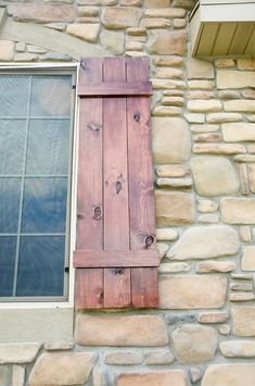 This is the style of shutters I want for our house. I'm thinking we could use some old wooden pallets to make them.would look nice inside the house too , rustic room etc(cr) Wooden Shutters, Window Shutters, Pallet Shutters, Wooden Doors, Cedar Shutters, House Shutters, Cottage Shutters, Outdoor Shutters, Humble Abode