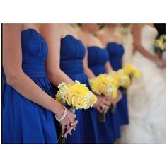 horizon and yellow wedding ideals | Horizon Blue Davids Bridal Bridesmaid Dresses