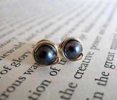 Buy Now Black Pearl Stud Earrings Gold Filled Pearl Studs Wire. Pearl Stud Earrings, Pearl Studs, Gold Studs, Pearl Jewelry, Love Coupons, Cool Things To Buy, Gemstone Rings, Wedding Rings, Etsy