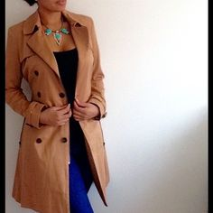 """Edgy Camel Trench Coat Rock this classic trench and be """"classic"""" but standout with the edgy zippers and skater skirt style. Has Soft-touch, woven fabric, Oversized collar, Double breasted closure, Zip front fastening, Belted mid-section, Storm flap detail, Pleats on back, Regular fit - true to size. Dry clean 80% Polyester, 20% Cotton. Jacket on all models is actual jacket. last pic shows the style of the back of jacket. ASOS Jackets & Coats"""