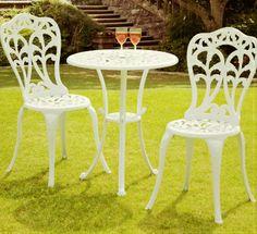 Suntime Perth white cast aluminium bistro set, Table: x x Chair: x x