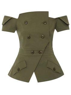 Double-Breasted Plain Asymmetric Women's Jacket