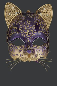Egyptian cat authentic venetian mask in papier mache with metal decoration. Handcrafted according to the original Venice carnival tradition. Manufactured in Venice by the famous venetian masters. Each item is provided with certificate of authenticity. Venitian Mask, Venetian Carnival Masks, Venetian Costumes, Carnival Venice, Costume Venitien, Egyptian Cats, Venice Mask, Cat Mask, Cool Masks