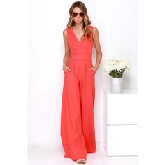 Wide Stride Coral Red Jumpsuit found on Polyvore featuring polyvore, fashion, clothing, jumpsuits, red, fitted jumpsuits, jumpsuits & rompers, cutout jumpsuit, jump suit and red cut out jumpsuit