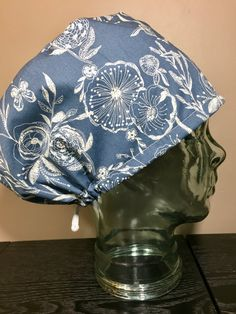 Blue & Cream Rustic Floral Surgical Scrub Hat, Beautiful Women's Flower Pixie Scrub Cap, Tie Back Cap, Custom Caps Company by CustomCapsCompany on Etsy
