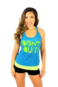 Don't Quit Tank in Teal/Marigold