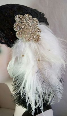 NEW unique flapper charleston Gatsby black lace ladies hair headband in Clothes, Shoes & Accessories, Women's Accessories, Hair Accessories Gatsby, 1920s Headband, 1920s Fashion Women, 1920s Flapper, Headband Hairstyles, Fancy Dress, Charleston, Women's Accessories, Headbands