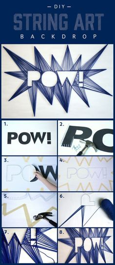 A string art backdrop adds an unique element of fun for your next party. #comics #comicbook #superhero #party