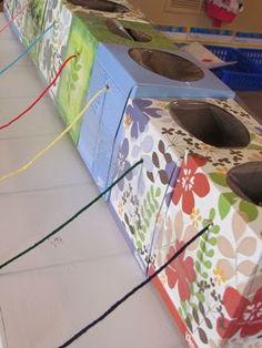 Yarn ball in empty tissue box - knitting diy yarn holder, wool holder Crochet Crafts, Yarn Crafts, Crochet Yarn, Sewing Crafts, Yarn Projects, Knitting Projects, Crochet Projects, Tissue Box Crafts, Tissue Boxes