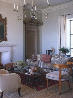 Michael S Smith, sitting room in the guest wing- another view of the 18th century doors surrounds found at jamb in london- love!