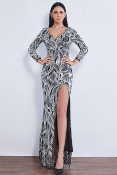 Glamorous V-Neck Long Sleeve Prom Dress Long Sequins Mermaid Evening Gowns With Slit Split Prom Dresses, Prom Dresses Long With Sleeves, Dress Long, Homecoming Dresses, Mermaid Evening Gown, Mermaid Gown, Evening Gowns, Affordable Prom Dresses, Prom Dresses Online