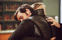 """""""One of the funniest thing on set was when I came out of the elevator and Rumple was hugging Hook."""" —  Emilie de Ravin (via museelo)"""