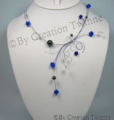 royal blue swirls necklace, wedding necklace, cocktail evening necklace, bridesmaids necklace,bridesmaids gifts,funky jewelry by creationtwinne, # GET IT HERE: http://www.etsy.com/listing/107360123