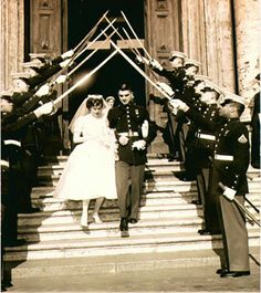 Marines cross swords as Marine takes a bride, Rome Italy 1962. I had to post this because Brendan and I did this at our wedding also. I love how traditional it is!