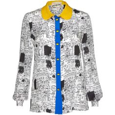 Alice + Olivia Aoxbasquiat Replica Buttondown (¥24,155) ❤ liked on Polyvore featuring tops, blouses, button up blouse, pattern blouse, white button blouse, print blouse and button blouse