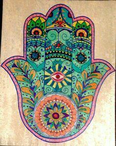 Hamsa in colour Hamsa Design, Hand Der Fatima, Hamsa Art, Hamsa Tattoo, Hippie Art, Hippie Bohemian, Jewish Art, Mandala Art, Art Drawings