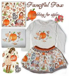 Halloween bobbing for apples print skirt and by fancifulfoxs, $70.60