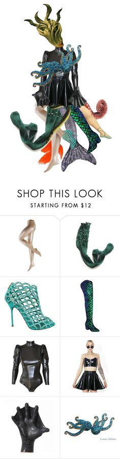 """""""Call-Girl Of Cthulhu"""" by millarca ❤ liked on Polyvore featuring Beta Fashion, Falke, Sergio Rossi, Michael Antonio, Current Mood, sporti, fashionset, tentacles, lovecraft and Cthulhu"""