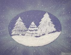 White craypas were used to draw a cluster of pine trees on a snowbank. White chalk was applied heavily to the edges of a tagboard oval. The oval was placed over the trees, then a tissue was used … Christmas Art Projects, Winter Art Projects, School Art Projects, Winter Project, Snowy Forest, 4th Grade Art, Chalk Pastels, Oil Pastels, Art Lessons Elementary