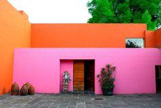 Pink and orange garden walls
