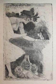 Félicien Rops (1833–1898). Madame Hammelette,1892, Vernis mou, aquatinte.104 x 66 mm. http://www.octaveuzanne.com/2012/10/felicien-rops-offre-madame-hammelette.html