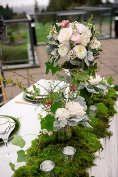Today's nature inspired west coast shoot has tons of inspiration! In this feature you are going to see lots of natural greens which is perfect since. Table Garland, Table Decorations, Forest Scenery, Beautiful Table Settings, Table Centers, Table Scapes, Nature Inspired, Place Settings, West Coast