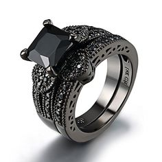 Rings Princess Cut Black Stone Ring Set Black Gold Plated Love Heart Rings For Women Unique Diamond Rings, Diamond Wedding Rings, Unique Rings, Engagement Ring Settings, Solitaire Engagement, Wedding Engagement, Set Fashion, Fashion Brand, Fashion Rings
