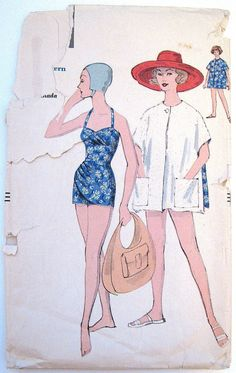 Vintage Bathing Suit 1950s Halter Draped Bust Hip Waist Inset Beach Cover-Up Reversible Vogue 9749 Full Figure Plus Size Bust 40    I just bought this :D