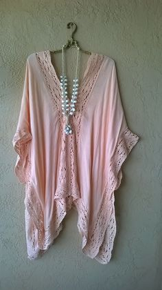 Image of Kimchi & Blue Peach wide cape sleeve coverup for snuggling on the beach