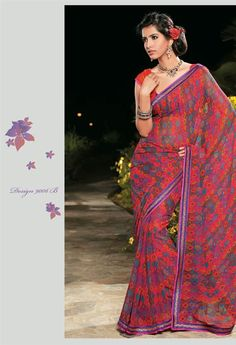 Buy Stunning Chiffon Georgette Printed Saree with Brocade Lace Border.