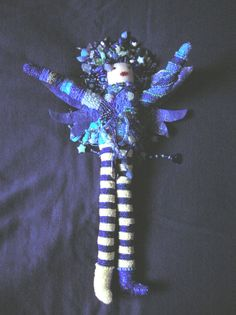 Blue Fairie. Front view. Hand beaded doll designed and created by Ann Blackwell, DragonFibre Studios.