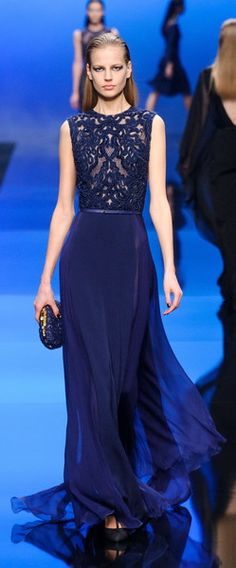 elie saab - blue long dress