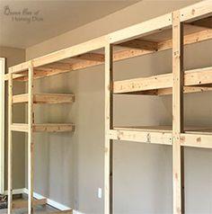 Diy Garage Storage Cabinets, Hanging Garage Shelves, Diy Storage Shelves, Garage Shelf, Shed Storage, Built In Storage, Garage Organization, Workshop Organization, Organizing