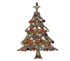 Castlecliff 1950's Snowy Rhinestone Christmas Tree Pin, Book Piece by VintageUndertheSea on Etsy