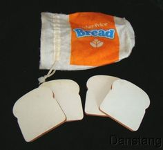 Vintage Fisher Price Fun with Food Bread Bag & Bread Slices