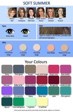 Color complexion chart for women with a soft summer skin tone - Soft summer color palette - Summer Cool Skin Tone, Colors For Skin Tone, Cool Tones, Good Skin, Neutral Skin Tone, Soft Summer Color Palette, Summer Colors, Winter Colors, Winter Fun
