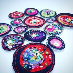 Sampling. Recycled fabric and beading. www.deborahotooletextileartist.com