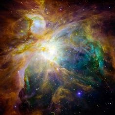 """a massive cloud of dust and gas—in the familiar constellation Orion, where it appears to the naked eye as the brightest """"star"""" in the hunter's sword."""
