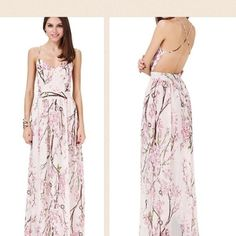 🆑 Floral Maxi Dress Open Crisscrossing Back Floral Maxi Dress With Crisscross Open Back. Chiffon material that is fully lined underneath with a slip. Runs small size up. Price is rock bottom. If you would like more discount please bundle. Size small will fit like xs GlamVault Dresses Maxi