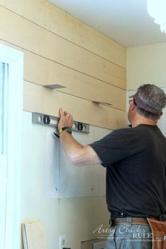 DIY Faux Shiplap (get the look without the expense!) DIY Faux Shiplap (get the look without the expense!) Shawnna Cuyle shawnnanoel home DIY Faux Shiplap &; using spacers and […] Laundry Room Fixer Upper Style, Faux Shiplap, Installing Shiplap, Diy Shiplap Walls, Planked Walls, White Shiplap Wall, Shiplap Ceiling, Shiplap Fireplace, Wood Ceilings