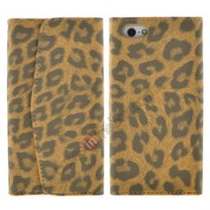 Textured Leopard Credit Card Slot Wallet Leather Case for iPhone 5 - Brown US$6.99